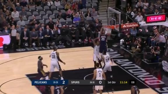 Anthony Davis soars over Spurs defenders