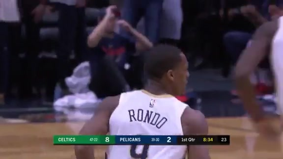 Rondo drives by the defense