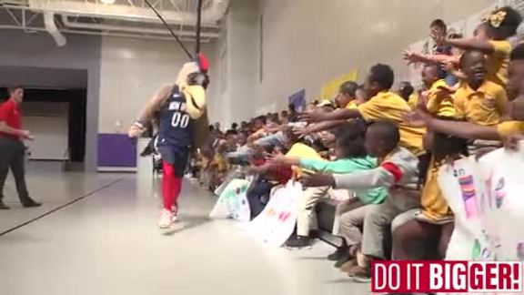 Pierre & Pelicans Dance Team Visit Area School Kids for Playoff Pep Rallies