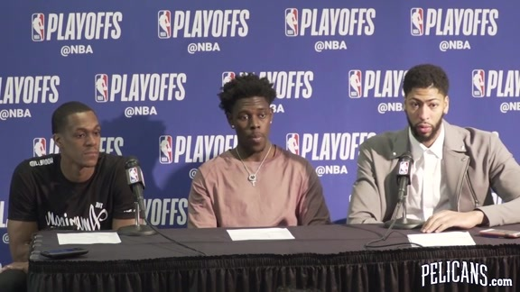 Pelicans vs Blazers Game 4 Postgame: Rajon Rondo, Jrue Holiday and Anthony Davis 4-21-18