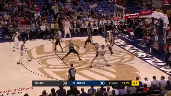 Anthony Davis puts Jakob Poeltl in the spin zone