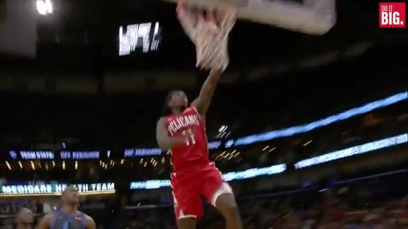 Jrue gets the steal and the dunk