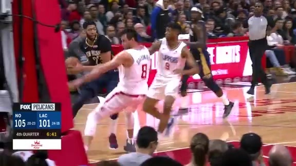 Anthony Davis puts Gallinari on skates