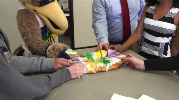 Pierre T. Pelican hosts Mardi Gras King Cake party 02-09-19