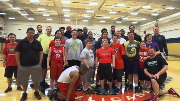 Pelicans players join Jefferson Parish Special Olympics team for practice