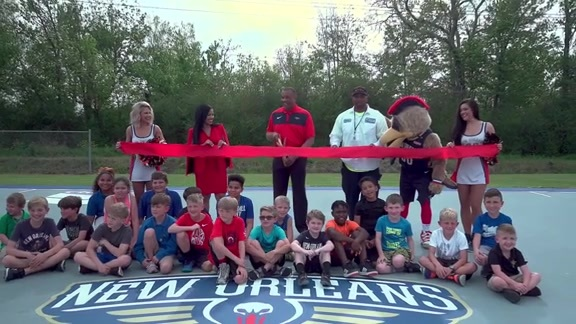 Pelicans, Chevron unveil refurbished court at Cypress Park