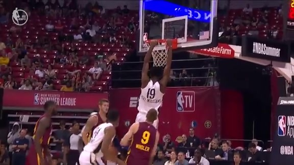 Kavell Bigby-Williams Huge Putback Dunk - Pelicans Cavs Summer League