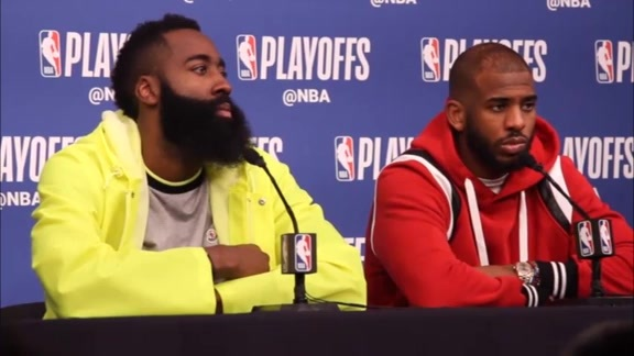 Postgame Interviews: James Harden & Chris Paul 4-21-18