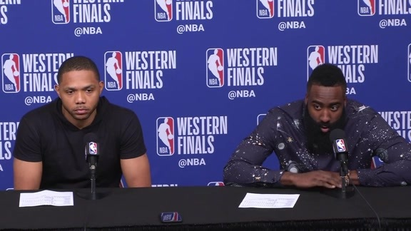 Postgame Interviews: Eric Gordon & James Harden 5-24-18