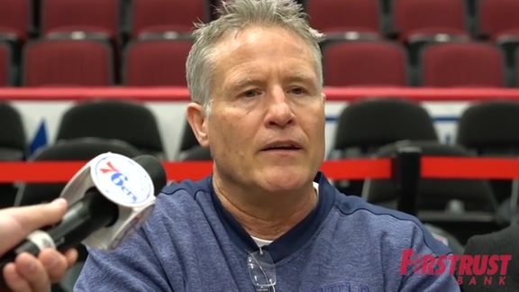 Shootaround | Brett Brown vs Bulls (02.22.18)