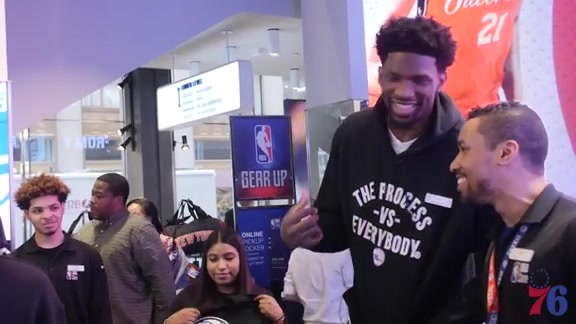 Joel Embiid Takes Over the NBA Store in New York City