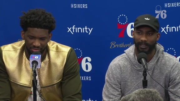Joel Embiid and Corey Brewer | Postgame vs Rockets (1.21.19)