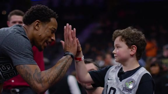 DeMar DeRozan Surprises Young Fan With Signed Shoes