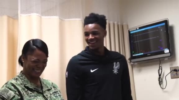 Dejounte Murray Visits JBSA-Fort Sam Houston Base