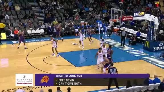 Devin Booker Assists Trevor Ariza Three-Pointer