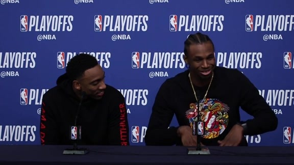 Postgame - Game 3 | Andrew Wiggins & Jeff Teague
