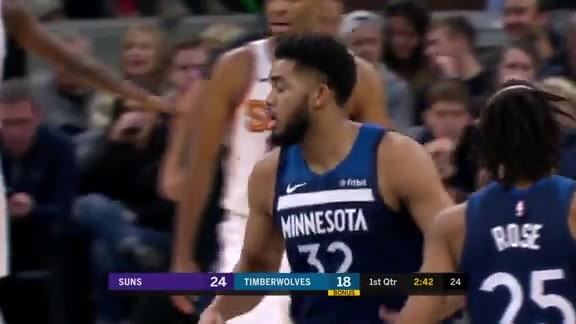 Towns Stretches Over The Defense For The Slam