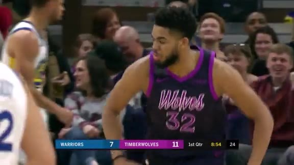 KAT Fakes Bogut And Jams It Over Durant