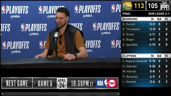 Postgame Warriors Talk: Klay Thompson - 4/21/19