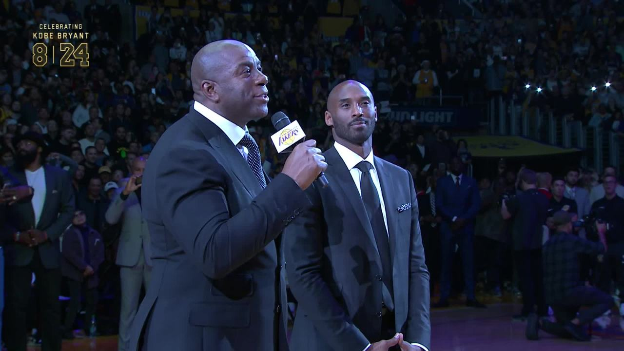 Kobe s Jersey Retirement Ceremony  Magic Johnson  359f00dc5